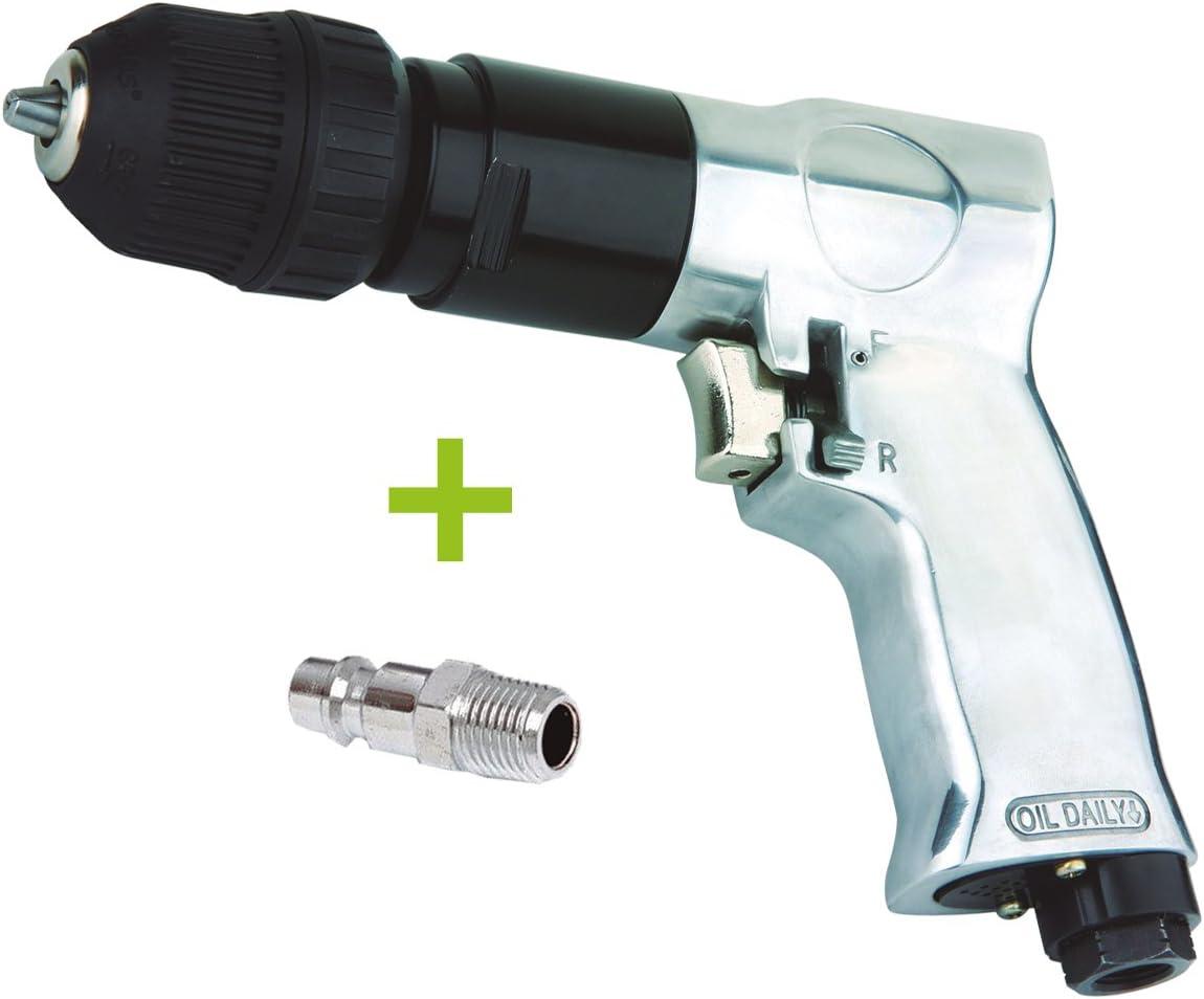 TALADRO NEUMATICO reversible automático 10 mm para compresor de AIRE COMPRIMIDO 1800RPM (incluye racor macho de 1/4