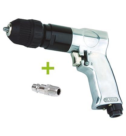 TALADRO NEUMATICO reversible automático 10 mm para compresor de AIRE COMPRIMIDO 1800RPM (incluye racor macho