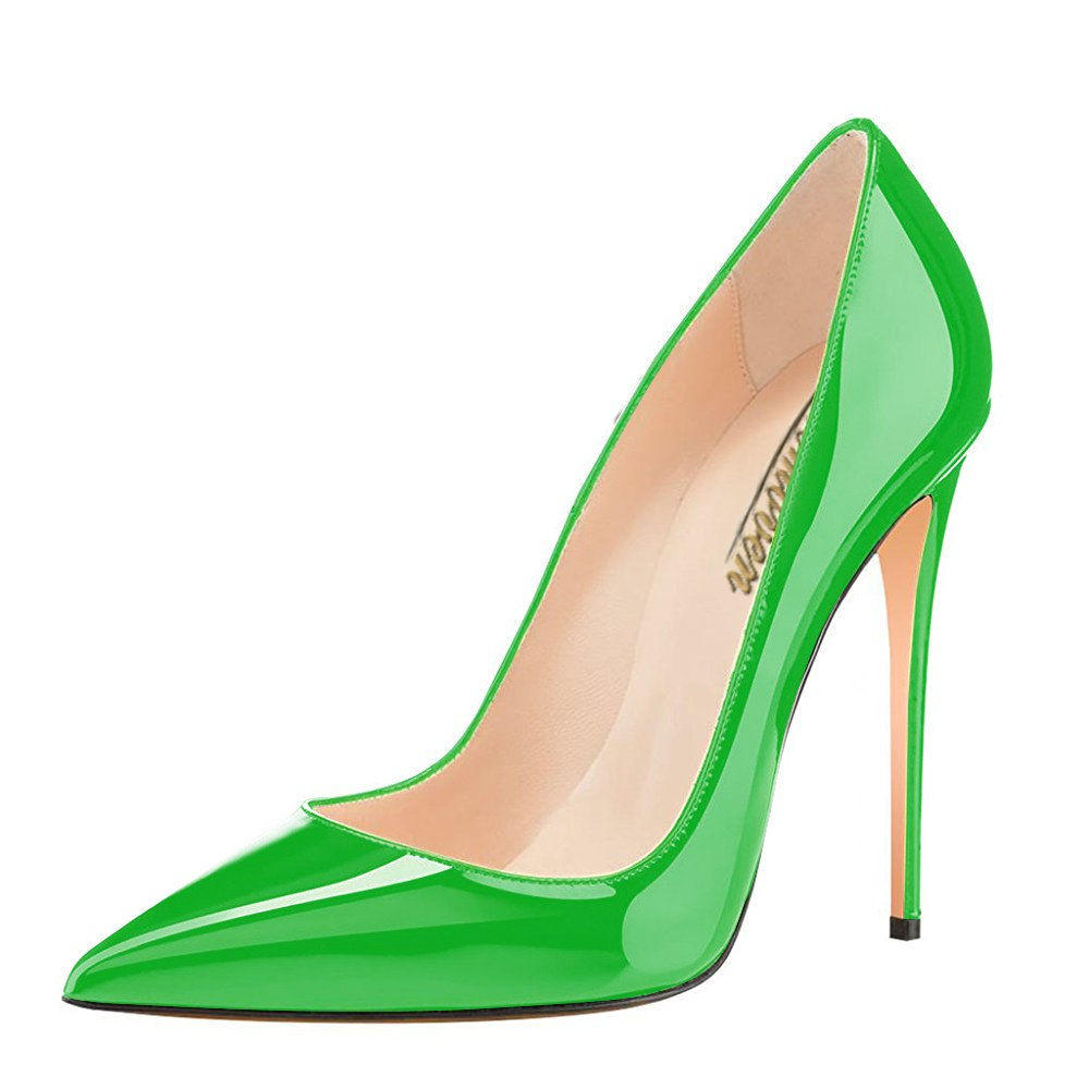 Modemoven Women's Pointy Toe High Heels Slip On Stilettos Large Size Wedding Party Evening Pumps Shoes B071DQW7ZC 8 B(M) US|Green
