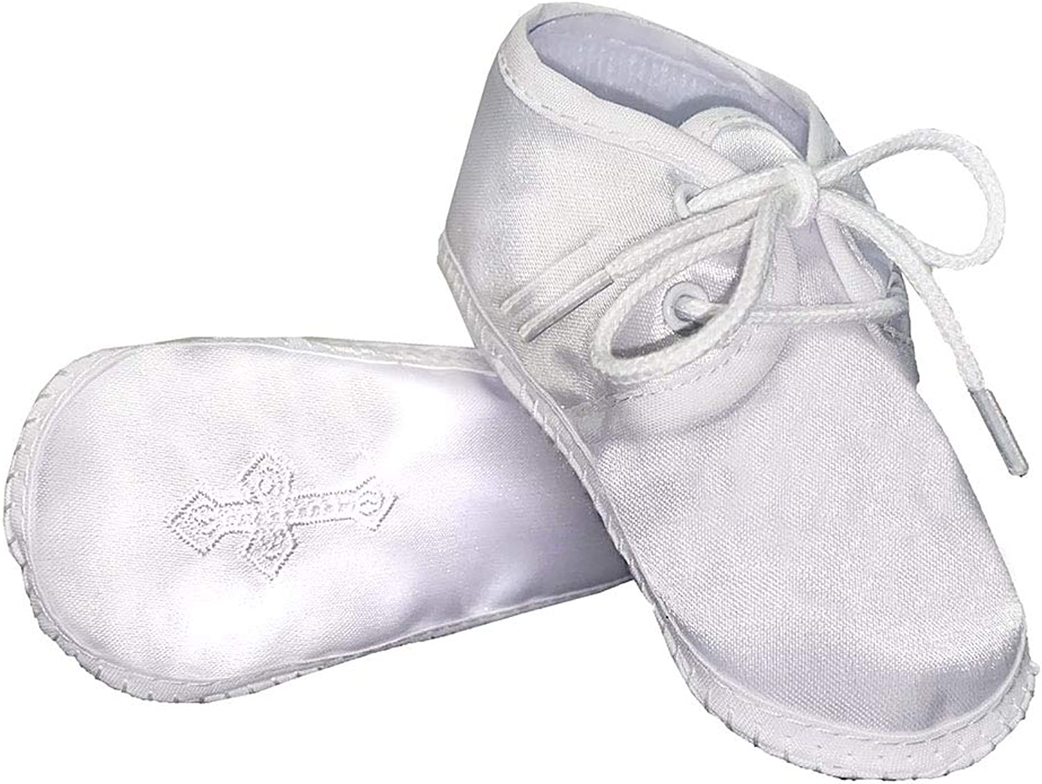 Swea Pea /& Lilli Baptism Shoes for Boys Zapatos de Bautizo White Baby Booties with Celtic Cross for Christening