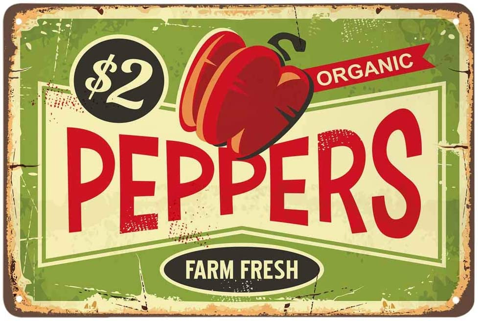 AOYEGO Peppers Tin Sign,Farm Fresh Organic Food Vintage Metal Tin Signs for Cafes Bars Pubs Shop Wall Decorative Funny Retro Signs for Men Women 8x12 Inch