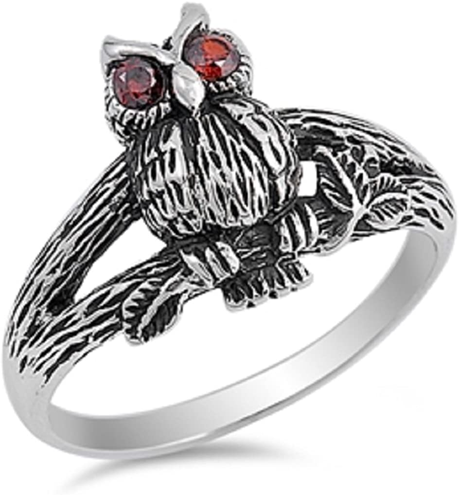 CloseoutWarehouse Simulated Garnet Cubic Zirconia Angry Owl Ring Sterling Silver