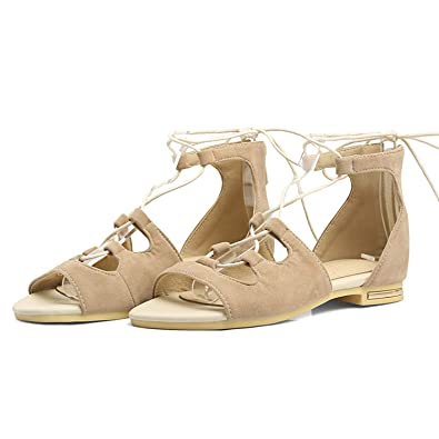 465433e25 Image Unavailable. Image not available for. Color  Lace up Flat Sandals  Cover Heel ...