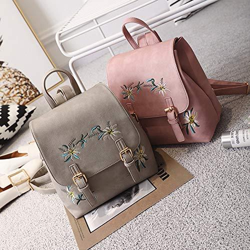 De Pink Bandoulière Broderie Dos Femme pour Réglable À Sac Gray Multicolore EqHzfE