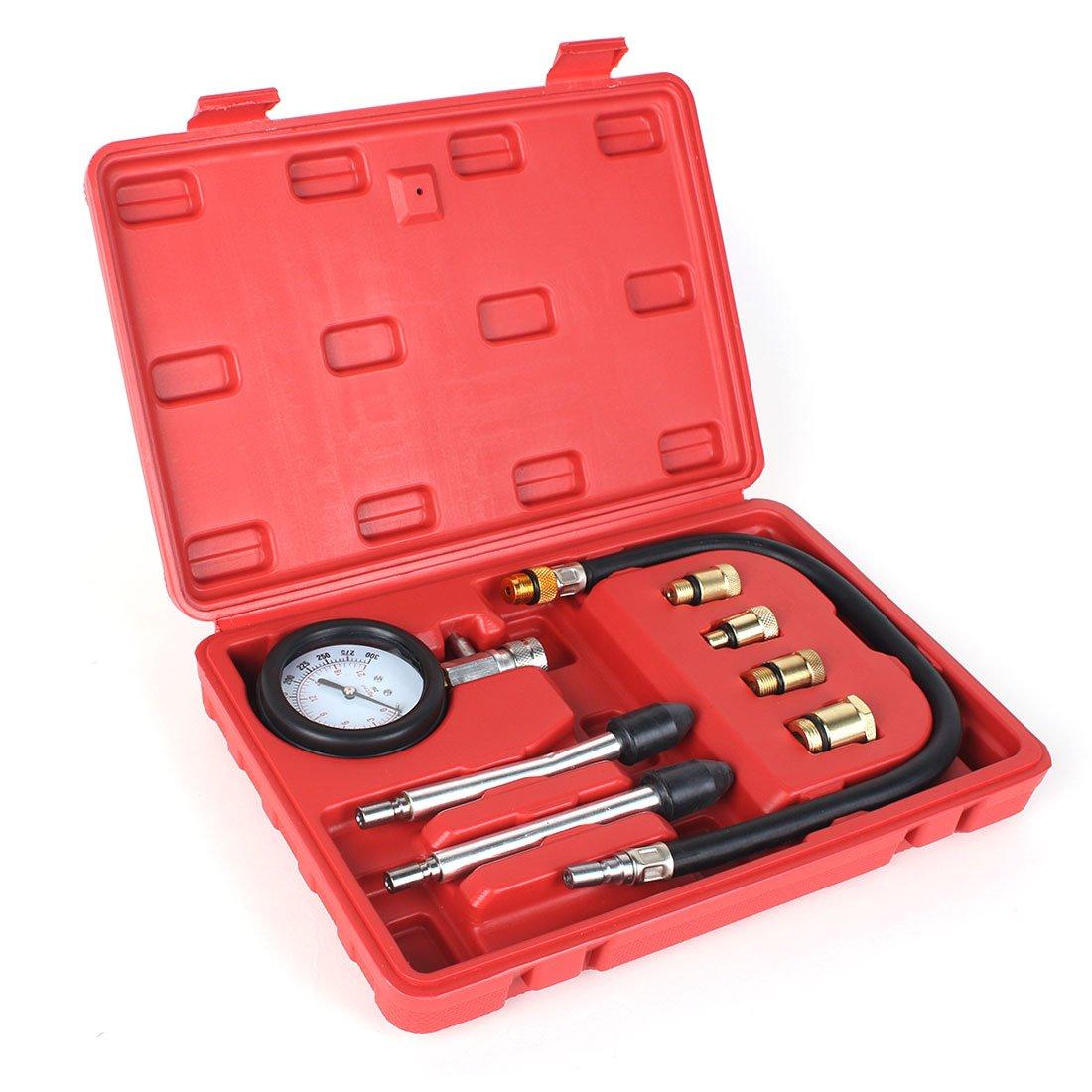8PCS Professional Tester Test Kit Cylinder Compression Gas Engine Set Automotive Tool Gauge for Car & Truck