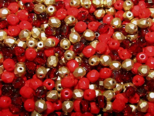 CHOOSE COLOR! 1/2 Mass (600pcs) Mix of three colors 4MFP406 Czech Fire-Polished Faceted Glass Beads Round 4 mm, 4FP027,4FP061,4FP085