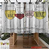AndyTours Outdoor Curtains,Wine,Four Main Types of Wine with Their Names Glasses Vintage Rustic Wood Backdrop Drawing,Energy Efficient, Room Darkening,K140C100 Multicolor
