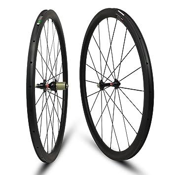Yuanan Rueda de Carbono de Perfil bajo Tubeless Tubular para Escalada de Bicicleta de Carretera: Amazon.es: Deportes y aire libre