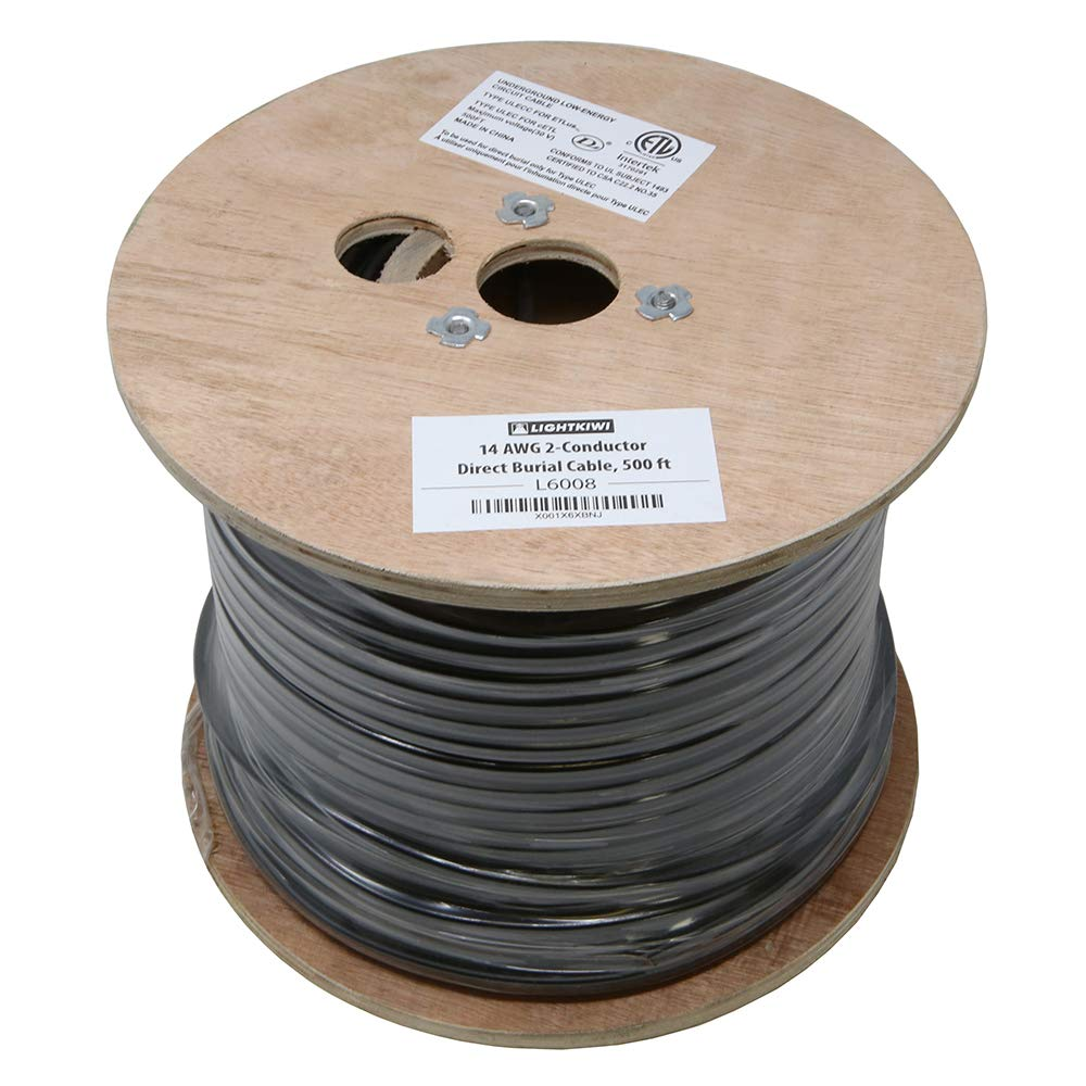 Lightkiwi L6008 14AWG 2-Conductor 14/2 Direct Burial Wire for Low Voltage Landscape Lighting, 500ft