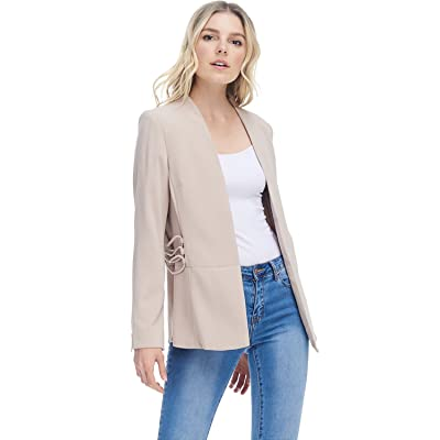 A+D Womens Casual Open Fully Lined Blazer Jacket W/Side Details at Amazon Women's Clothing store