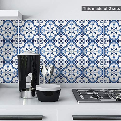 (Fymural Decorative Tile Sticker for Kitchen & Bathroom - Peel and Stick Tile Backsplash Waterproof Anti-Mold 10PCS 6x6 inch Pearly Portuguese Pattern Tile Wallpaper Decals for Wall Stairs Decals Mural)