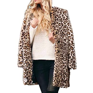 a9264d3b93b Amazon.com  GONKOMA Women s Leopard Printed Lapel Wool Coat Jacket Winter  Parka Cardigan Jacket Overcoat Outerwear  Clothing