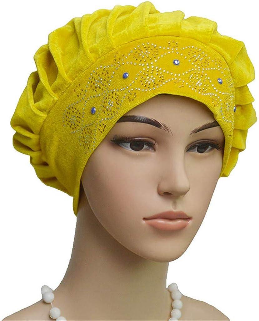 R-Cors Chapeau de Turban de Couleur Pure de Mode de Femmes Chapeau de Hijab Musulman de Coton Velours Tisser D/écoration Bonnet de Nuit pour Perte De Chimio