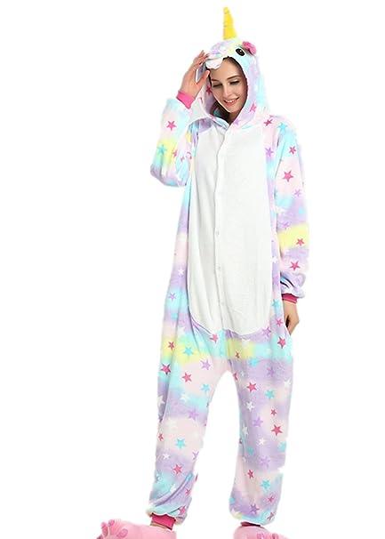 e001f737 VineCrown Unicornio Pijama Animal Disfraces Traje Adultos Ropa de dormir  Novedad Pijamas de una pieza Cosplay Carnaval Halloween Navidad