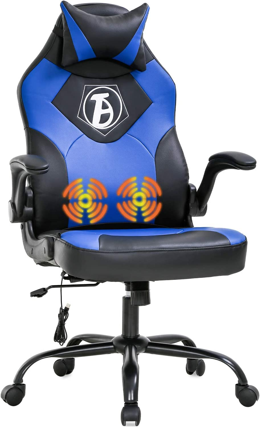 Gaming Chair Computer Chair Desk Chair PU Leather Adjustable Office Chair with Lumbar Support Headrest Armrest PC Ergonomic Task Rolling Swivel Massage Racing Chair for Women Adults(Blue)
