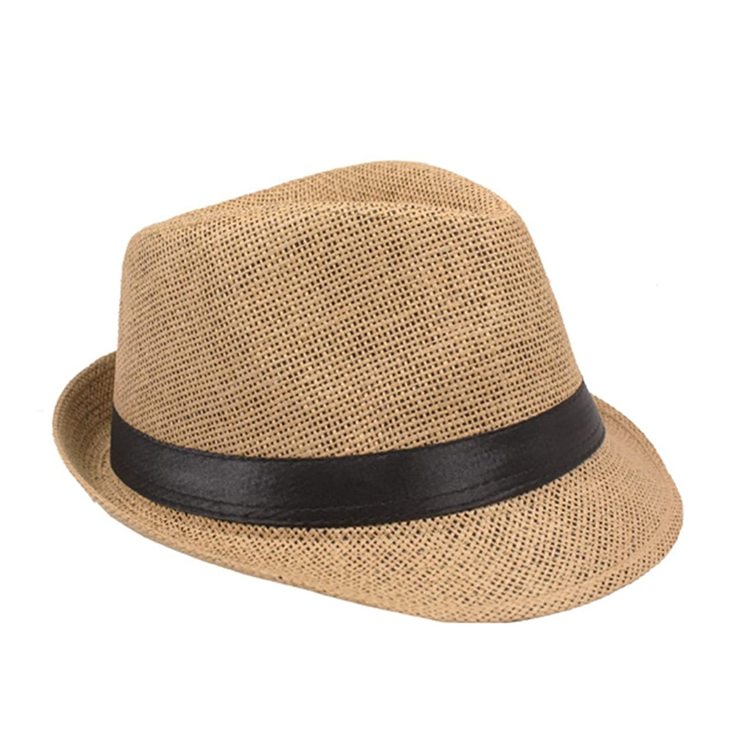 SILVERFEVER Silver Fever Stripped Panama Fedora Hat for Men Or Women (Tan Black Belt)