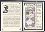 ES 1959 Peseta Set Of 5 Coins  and  1 Banknote Used By Spanish dictator Francisco Franco with Album  and  Certificate. Fine