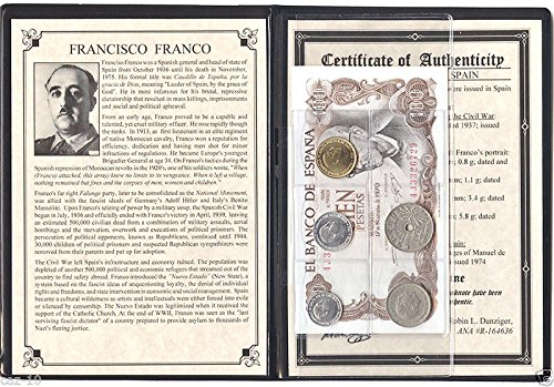 ES 1959 Peseta Set Of 5 Coins & 1 Banknote Used By Spanish dictator Francisco Franco with Album & Certificate. Fine