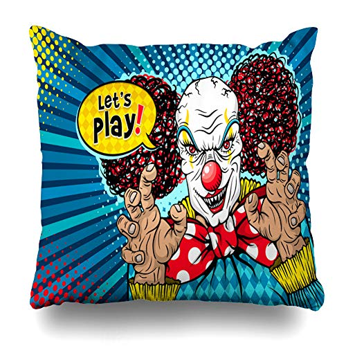 KJONG Monster Red Retro Comic Style Colorful Pop Art Zippered Pillow Cover,18 x 18 inch Square Decorative Throw Pillow Case Fashion Style Cushion Covers(Two Sides Print)]()