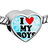 Amazon Price History for:Heart of Charms Mom Mother Heart I Love My Girls or Boys Charms Photo Charms Beads for Snake Chain Bracelets