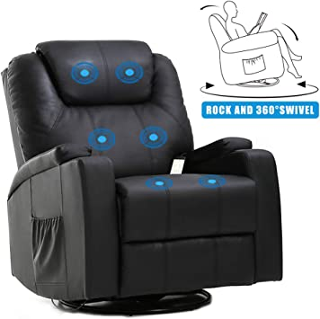Massage Recliner Chair Reclining Sofa PU Leather Electric Massage Chair with 360 Degree Swivel Remote Control 6 Point Vibration Modes 2 Cup Holders