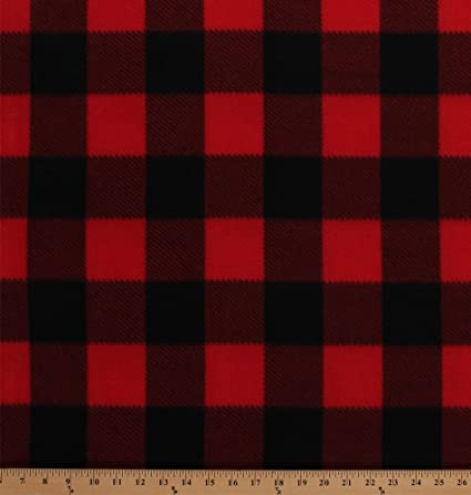 Amazoncom Fleece Red Black Buffalo Plaid Checks Checkered Squares