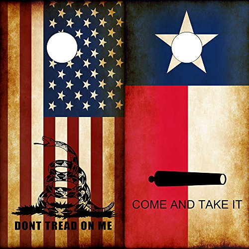 Speed Demon Hot Rod Shop Cornhole Board Wraps ~ Combo Texas Flag Come and Take It & Rustic American Dont Tread On Me DTOM Corn hole Boards Laminated Decal Wraps (Set of 2) CHB by Speed Demon Hot Rod Shop
