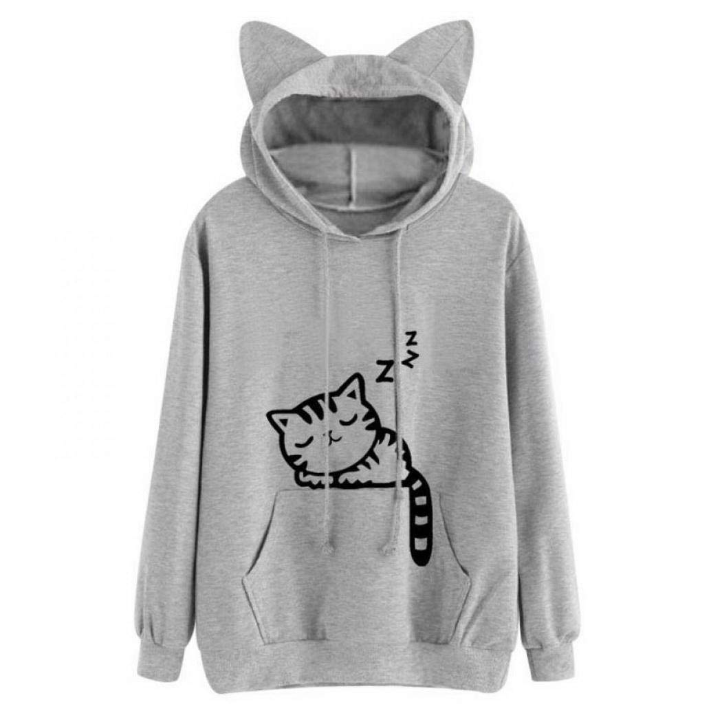 Giuoke Womens Fashion Lovely Cartoon Ears Hooded Printed Loose Pullover Sweatshirts