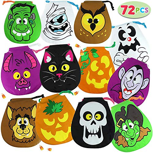 JOYIN Pack of 72 Halloween Drawstring Goody Bags for Halloween Treats Bags, Halloween Party Favors, Halloween Party Supplies