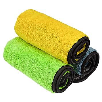 Wamsatto - Toalla de Limpieza de Microfibra, Doble Capa, Ultra Gruesa, para Limpiar