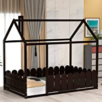 House Bed Twin Size Kids Bed Frame with Roof and Fence, Box Spring Needed (Espresso)