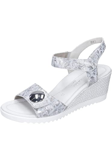db195b628def Women s Remonte Silver Leather Floral Mid Heel Wedge Slingback Sandal UK 3  - EU 36 -