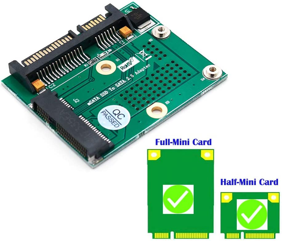 Happy nest Msata SSD to SATA 2.5 inch Adapter Card with Metal Extension Bracket