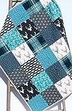 Modern Boy Quilt Modern Baby Bedding Woodland Deer Arrows Navy Blue Teal Gray Buck Plaid Handmade Crib or Toddler Size