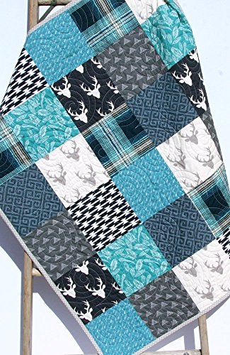 Modern Boy Quilt Modern Baby Bedding Woodland Deer Arrows Navy Blue Teal Gray Buck Plaid Handmade Crib or Toddler Size by Sunnyside Designs