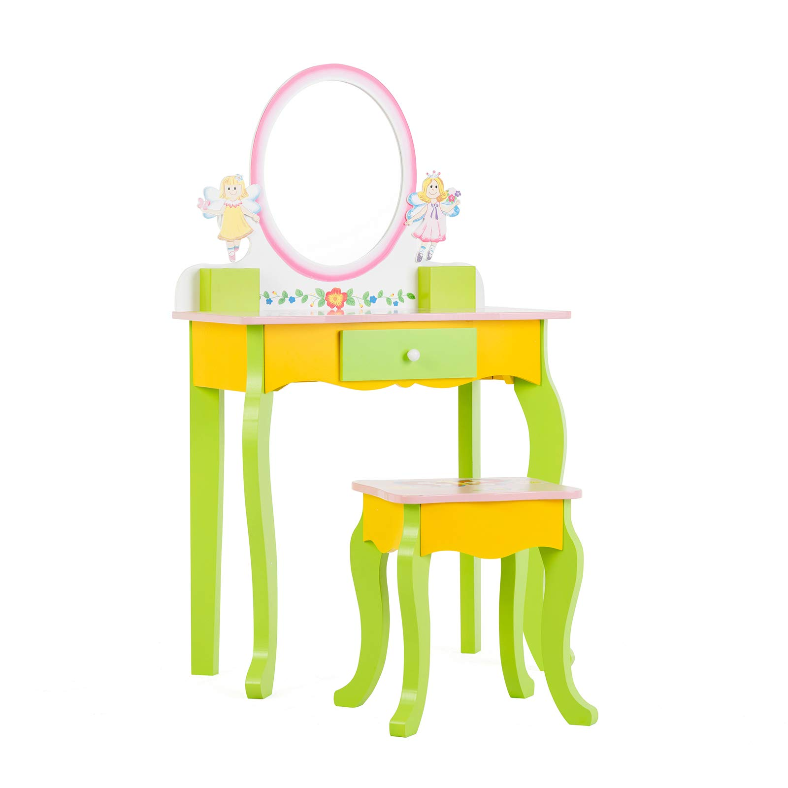 Mecor Kids Vanity Table,Little Girls Princess Makeup Dressing Table with Drawer/Mirror,Hand Painted Vanity Set with Stool for Children