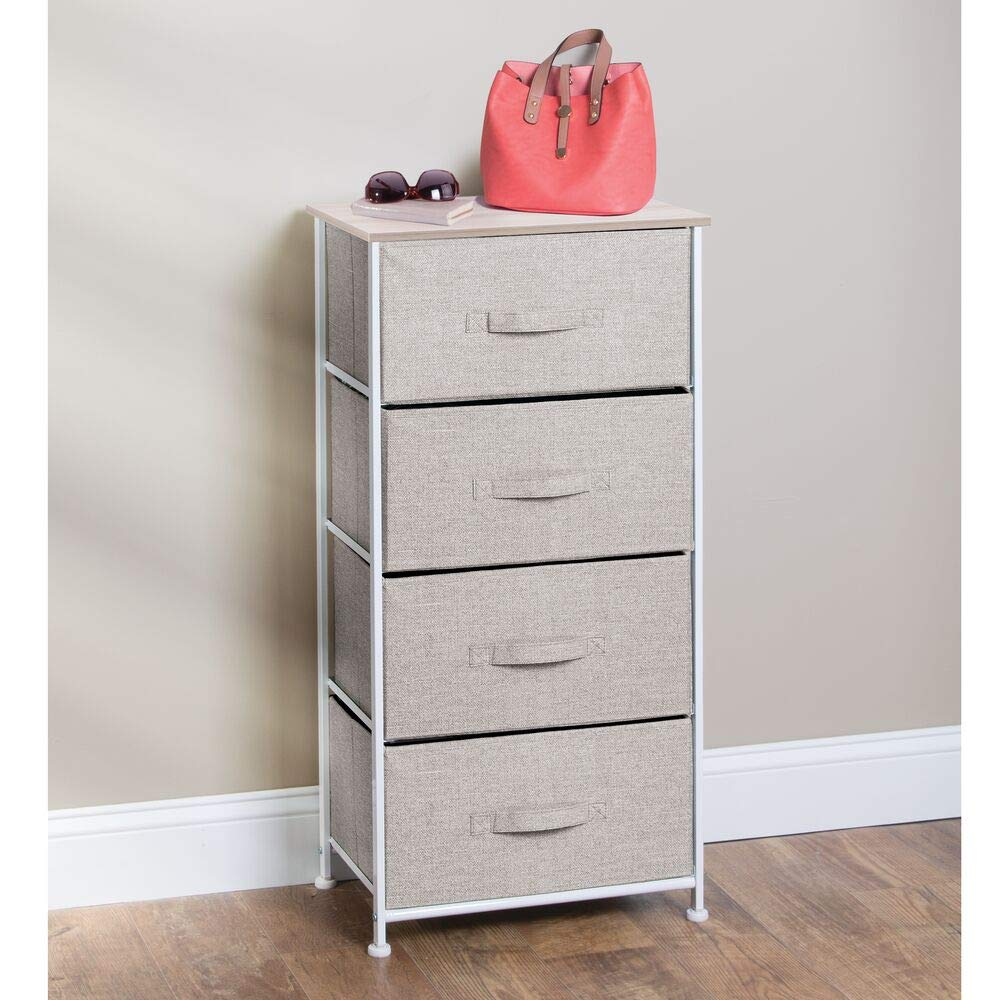 mDesign Vertical Dresser Storage Tower – Sturdy Steel Frame, Wood Top, Easy Pull Fabric Bins – Organizer Unit for Bedroom, Hallway, Entryway, Closets – Textured Print – 4 Drawers – Linen Natural