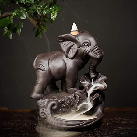 Handmade Backflow Incense Cute Ceramic Elephant Burner Waterfall Incense Holders Home Fragrance Craft: Amazon.co.uk: Kitchen & Home