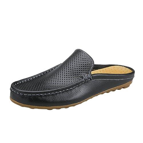 Nuoxiang PU Cuero Zuecos para Hombre Slip On Mocasines Chanclas de Playa Verano Casual Plano Slippers Negro: Amazon.es: Zapatos y complementos