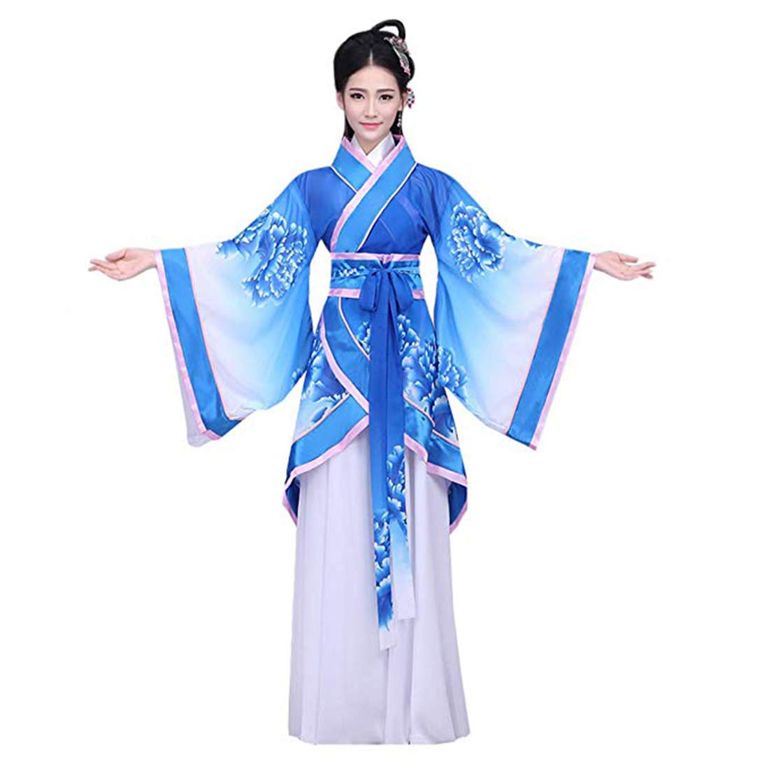 Ez-sofei Women's Ancient Chinese Traditional Hanfu Dress Han Dynasty Cosplay Costume (L, G-Blue)