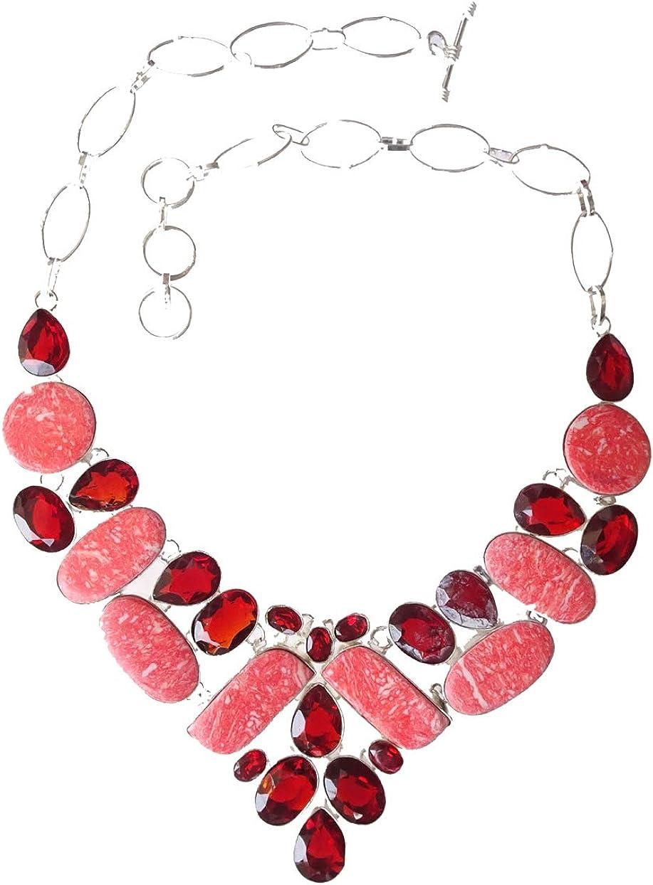 India Jewel Store Collar Hanmade Collar de Plata de Ley 925 Plateado Granate Rodocrosita Piedra Preciosa Collar de diseñador de Moda para Mujeres y Adolescentes Joyería Moderna Artesanía Hecha a Mano