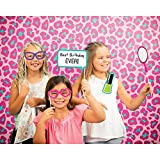 Party Central Pack of 6 Pink and Green Leopard Themed Decorative Photo Backdrops 15""