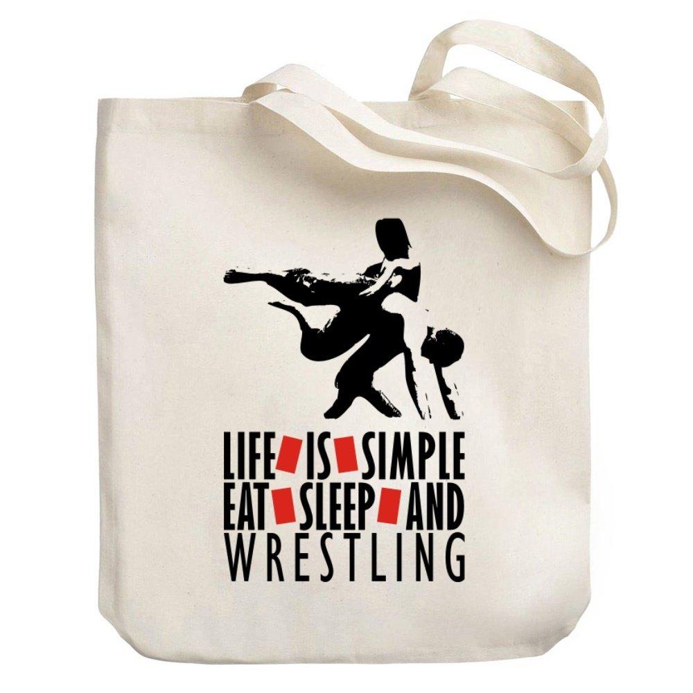 Teeburon LIFE IS SIMPLE EAT , SLEEP Wrestling Canvas Tote Bag