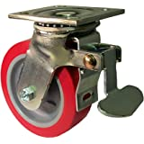 """E.R. Wagner Plate Caster, Swivel with Total-Lock Brake, Polyurethane on Polyolefin Wheel, Roller Bearing, 750 lbs Capacity, 5"""" Wheel Dia, 2"""" Wheel Width, 6-1/2"""" Mount Height, 4-1/2"""" Plate Length, 4"""" Plate Width"""