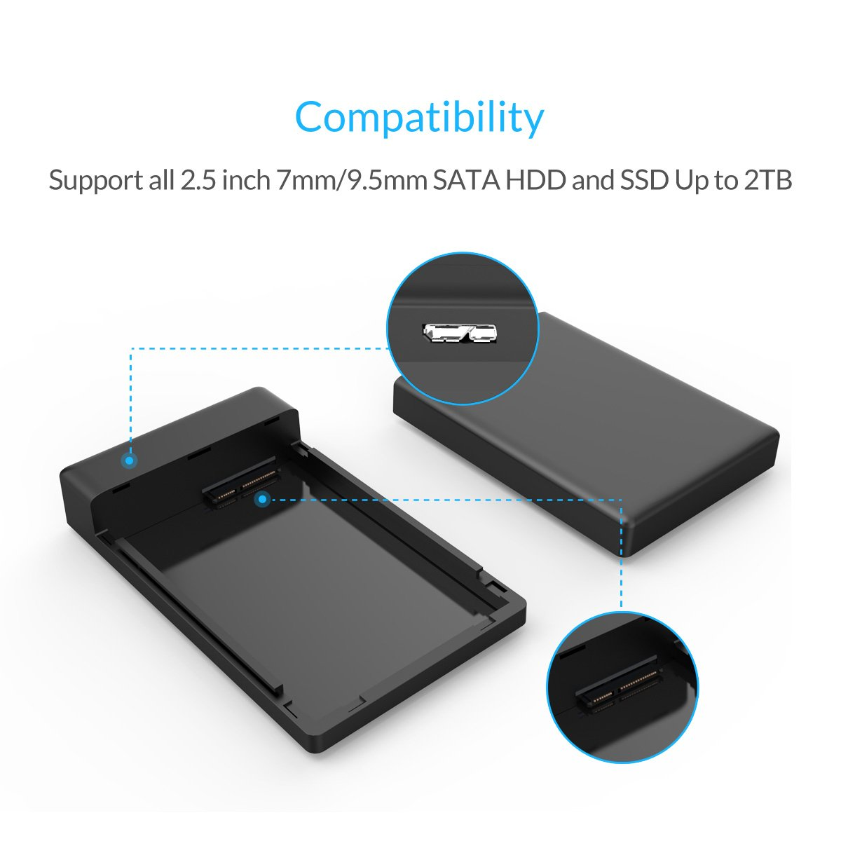 Orico 25 Usb30 Sata External Hard Drive Enclosure For 95mm 7mm Inch Hdd And Ssd Tool Free Uasp Supported Black Case Disk Samsung F2 Portable Usb 30 Computers