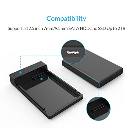 "ORICO 2.5"" USB3.0 SATA External Hard Drive Enclosure for 9.5mm 7mm 2.5 Inch SATA HDD and SSD Tool-Free UASP Supported - Black"