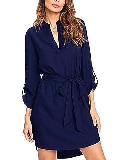 60c4e66e55f Kenoce Women s Shirt Dresses Long Sleeve Mini Dress V Neck Solid Plain  Tunic Tops Casual Long