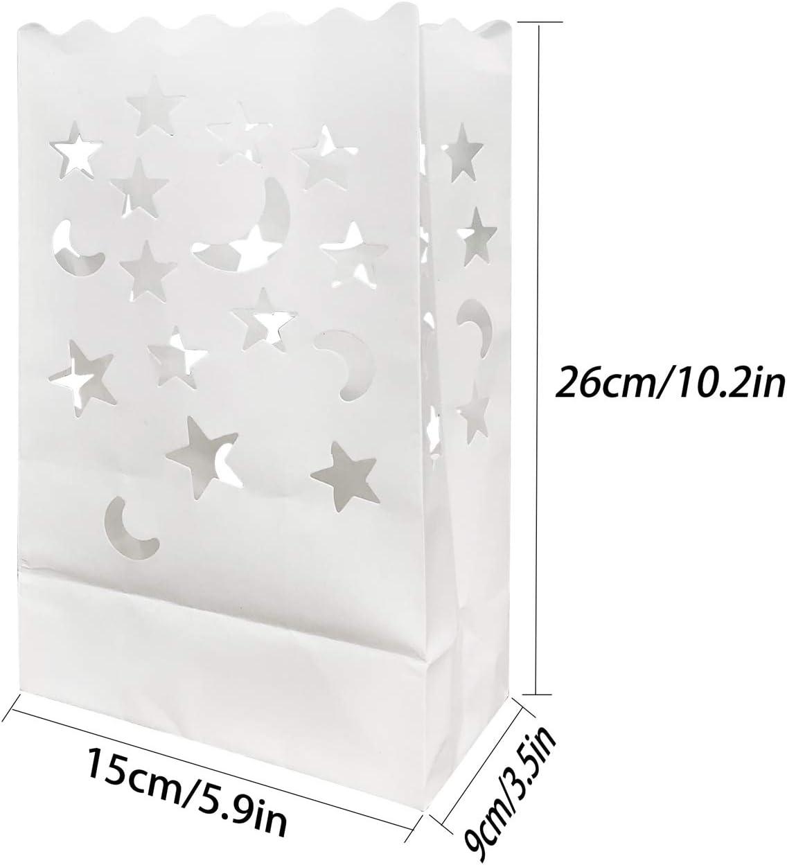 JJQHYC Candele luminarie,30 Confezioni Candele Lanterna di Carta Borse Bianche per ricevimento di Nozze Decorazione di Feste ed Eventi.