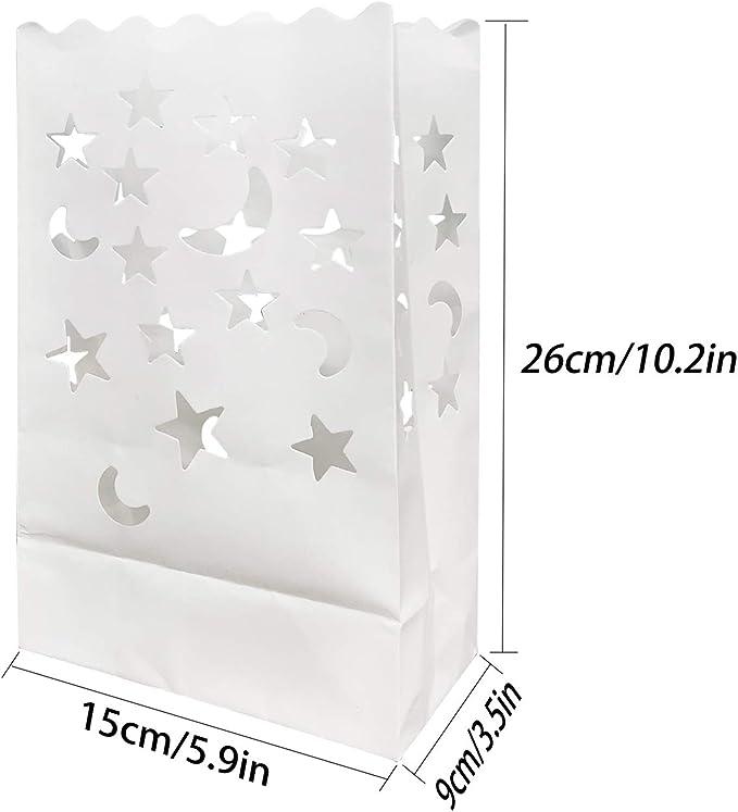 JJQHYC Bolsas de luminarias para velas, 30 paquetes de velas de linterna de papel Bolsas blancas para la fiesta de recepción de bodas y decoración de eventos.: Amazon.es: Hogar