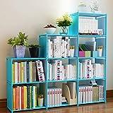 Hosmat 9-Cube DIY Childrens Bookcase 30 inch Adjustable Bookshelf Organizer Shelves Unit, Folding Storage Shelves Unit (Blue_9 Cubes)